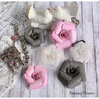 Zestaw papierowych kwiatów - miks kolorów 170126 - 6 sztuk