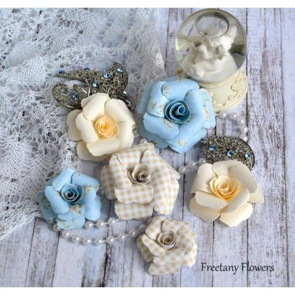 A set of paper flowers - mix of colours 170128 - 6 pieces