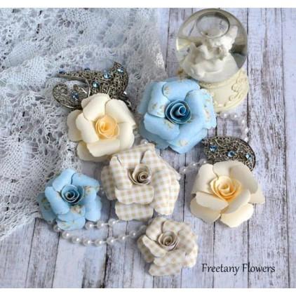 Zestaw papierowych kwiatów - miks kolorów 170128 - 6 sztuk