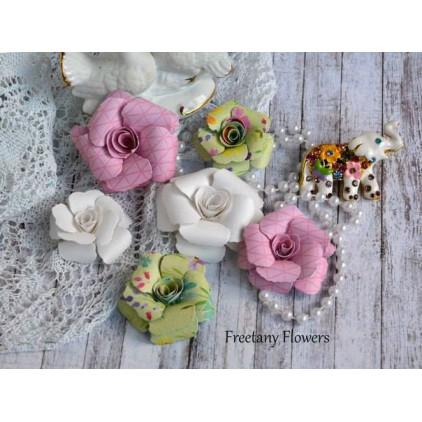 Zestaw papierowych kwiatów - miks kolorów 170130 - 6 sztuk