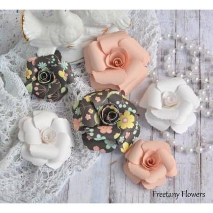 Zestaw papierowych kwiatów - miks kolorów 170131 - 6 sztuk