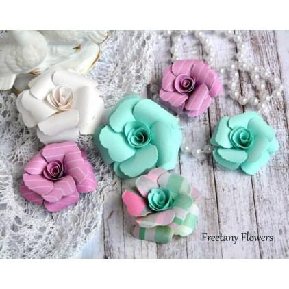 Zestaw papierowych kwiatów - miks kolorów 170132 - 6 sztuk