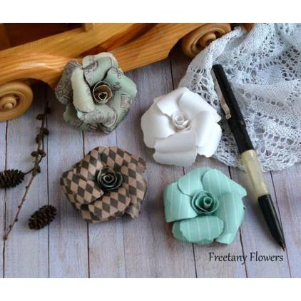 Zestaw papierowych kwiatów - mix kolorów - 170135- 4 sztuki