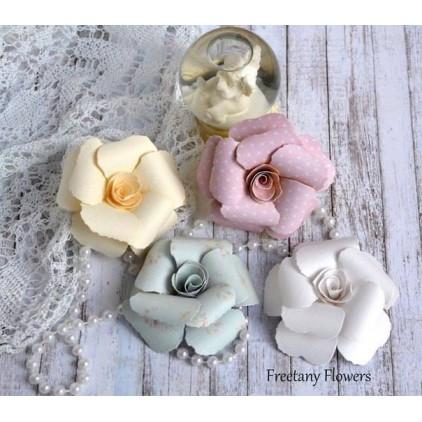 Zestaw papierowych kwiatów - mix kolorów - 170137- 4 sztuki