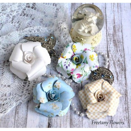 Zestaw papierowych kwiatów - mix kolorów - 170138- 4 sztuki