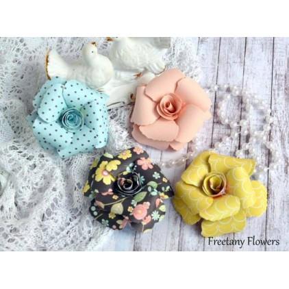 Zestaw papierowych kwiatów - mix kolorów - 170139 - 4 sztuki