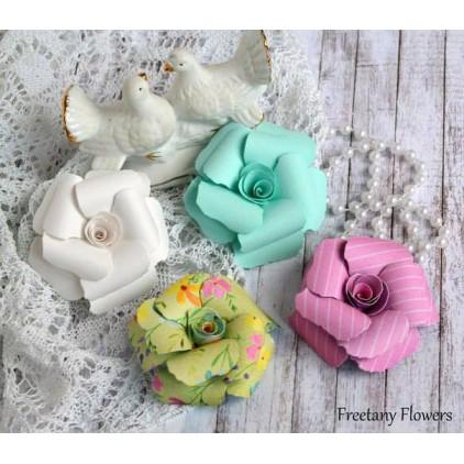 Zestaw papierowych kwiatów - mix kolorów - 170140 - 4 sztuki
