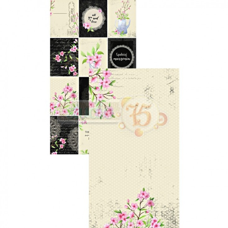 Scrapbooking paper, strip - Studio 75 - Cherry Blossom 05