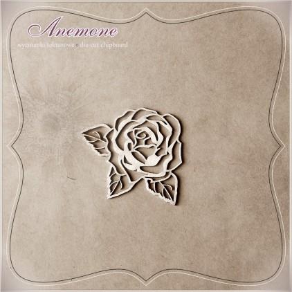 Wycinanka tekturowa - Anemone - Róża z listkami