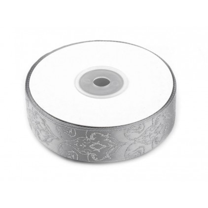 Ribbon with brocade - silver - 1 meter