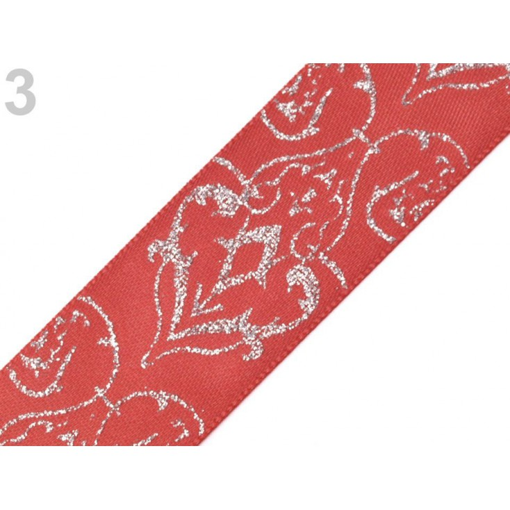 Ribbon with brocade - indian pink - 1 meter