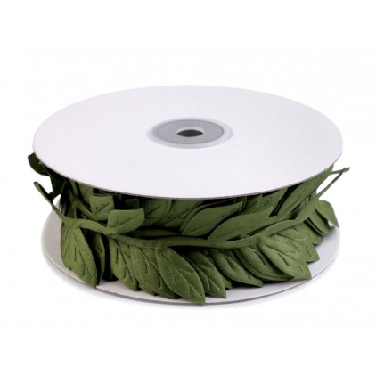 Ribbon with leaves - satin application - green