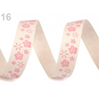 Ribbon cotton with print - pink flowers - 1 meter