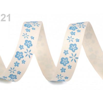 Wstążka bawełniana z nadrukiem - kwiaty niebieskie - 1 metr