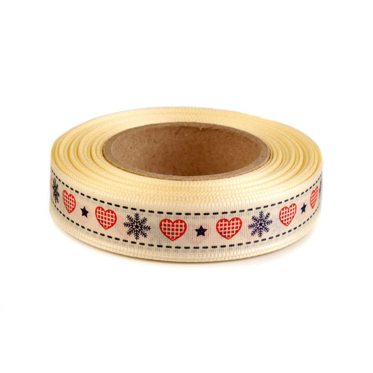 Ribbon taffeta with print - red and navy blue - 1 meter