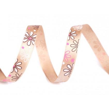 Satin ribbon - flowers- 1 meter - light beige