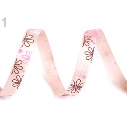 Wstążka satynowa - kwiaty- 1 metr - różowa