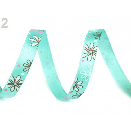 Satin ribbon - flowers- 1 meter - mint