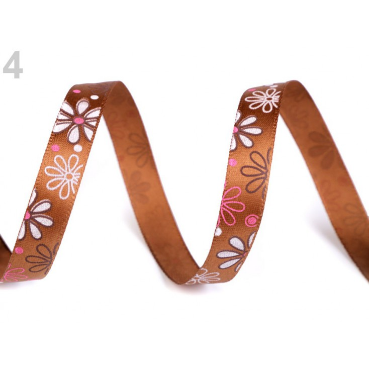 Satin ribbon - flowers- 1 meter - brown