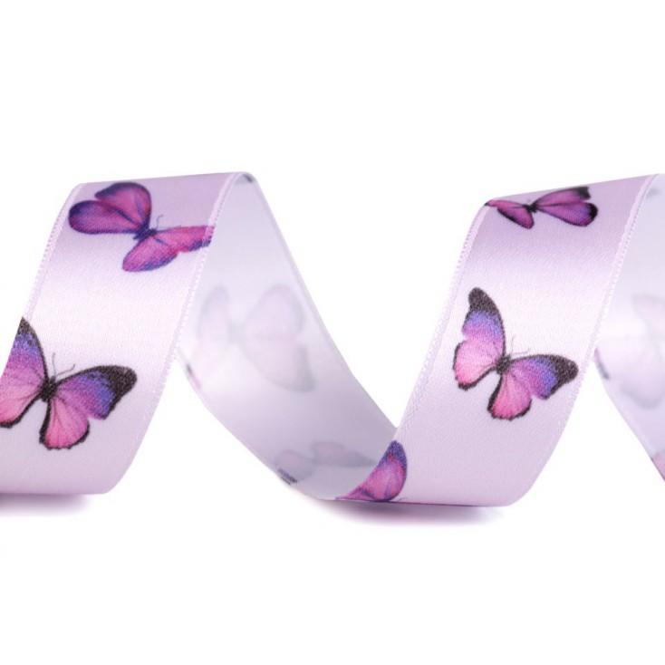 Wstążka satynowa - motylki 2,5 cm - 1 metr - fioletowa