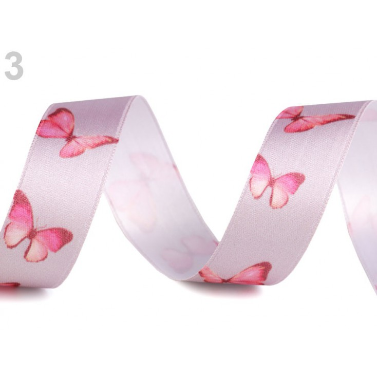 Satin ribbon - butterflies 2,5 cm- 1 meter - grey