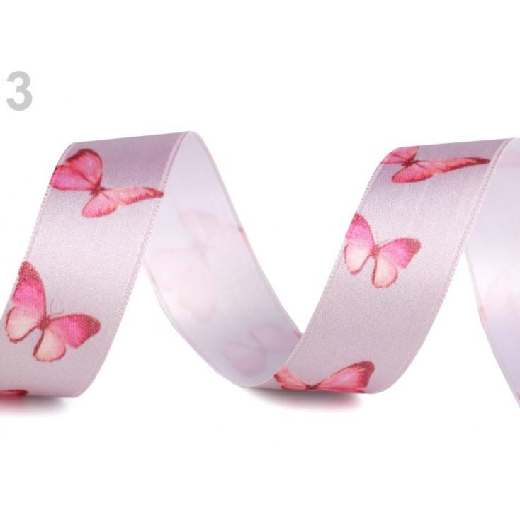 Wstążka satynowa - motylki 2,5 cm - 1 metr - siwa