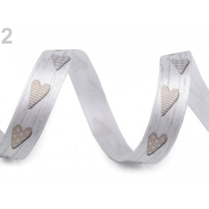 Satin ribbon - hearts 1,5 cm- 1 meter - wood grey