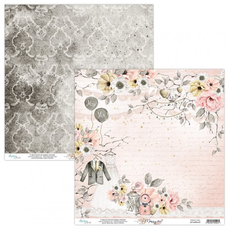 Scrapbooking paper - Mintay Papers - Marry me ! 01
