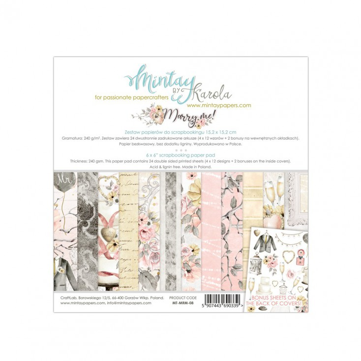 Scrapbooking paper pad - Mintay Papers - Marry Me !