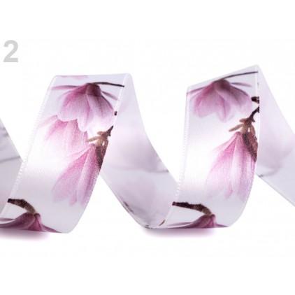 Wstążka satynowa - magnolie 2,5 cm - 1 metr - biała