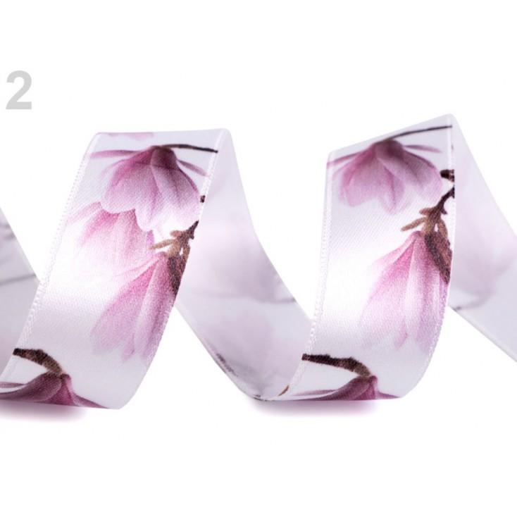 Satin ribbon - magnolias 2,5 cm- 1 meter - white