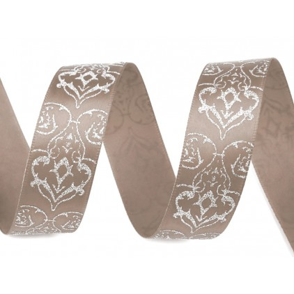 Ribbon with brocade - brown - 1 meter