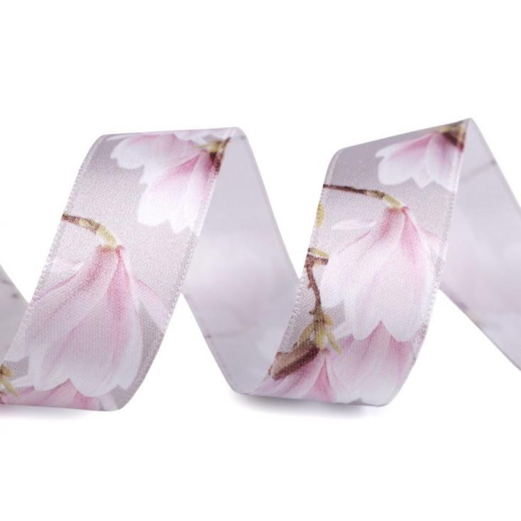 Satin ribbon - magnolias 2,5 cm- 1 meter - grey
