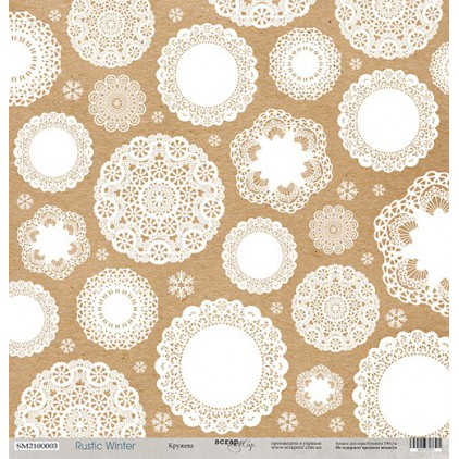 Papier do tworzenia kartek i scrapbookingu - Scrap Mir - Rustic Winter -Lace