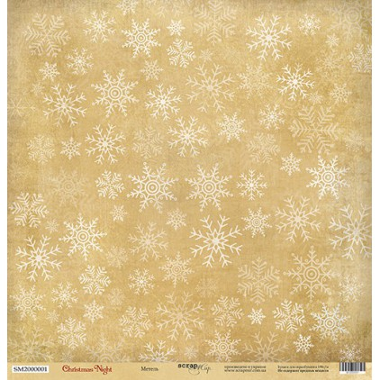 Papier do tworzenia kartek i scrapbookingu - Scrap Mir - Christmas Night -Snowstorm