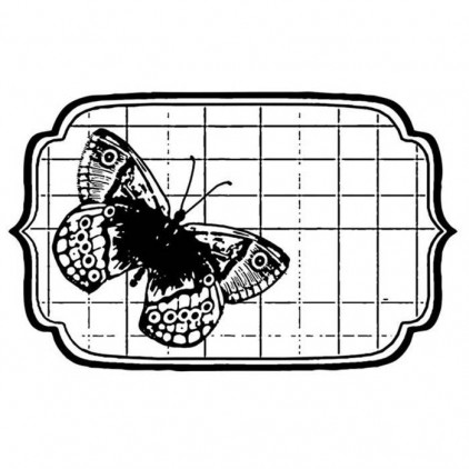 Set of clear stamps - Stamperia - Tag with butterfly