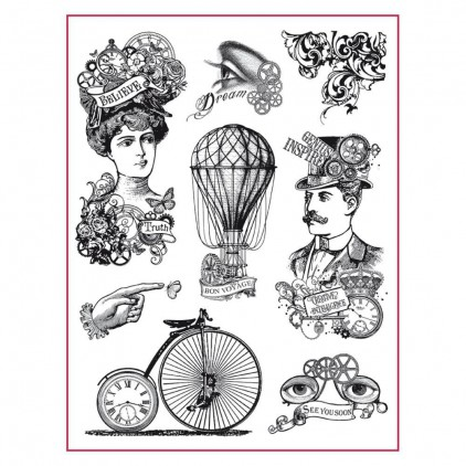 Set of clear stamps - Stamperia - Steampunk