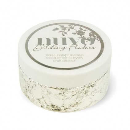 Metallic foil in flakes, gilding flakes- Nuvo- silver bullion- 200 ml