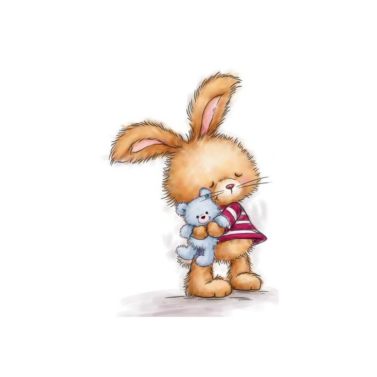 Set of clear stamps - Wild Rose Studio - Bunny with Teddy CL502