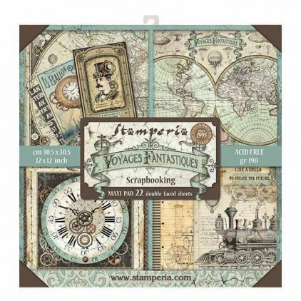 Set of scrapbooking papers - Stamperia - Voyages Fantastoques MAXI - SBBXL01