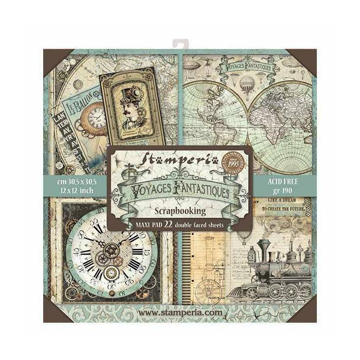Set of scrapbooking papers - Stamperia - Voyages Fantastoques MAXI - SBBXL01