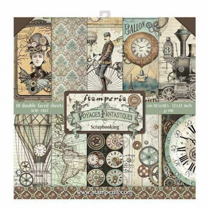 Set of scrapbooking papers - Stamperia - Voyages Fantastoques - SBBL53