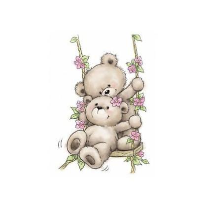 Stemple / pieczątki -  Wild  Rose Studio - Bears on swing CL504