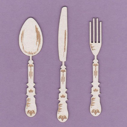cutlery set 10 cm laser cut, chipboard - Crafty Moly 747 S
