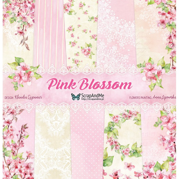 Zestaw papierów do tworzenia kartek i scrapbookingu - ScrapAndMe - Pink Blossom