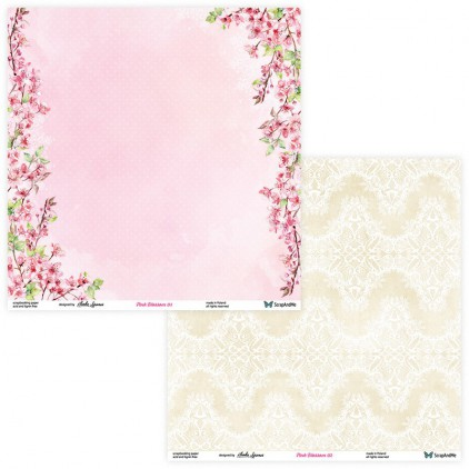Set of scrapbooking papers - ScrapAndMe - Pink blossom - 01/02
