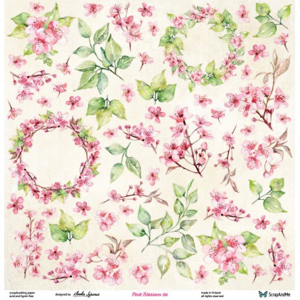 Set of scrapbooking papers - ScrapAndMe - Pink blossom - 05/06