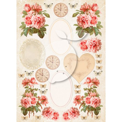 One-sided scrapbooking paper - Vintage Time 038
