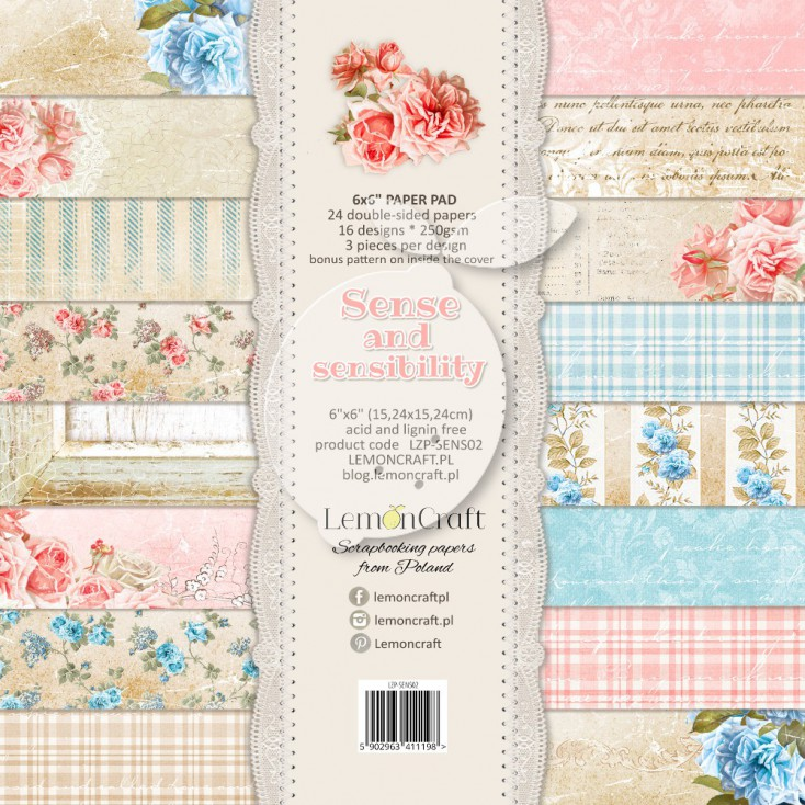 Pad of scrapbooking papers - Sense and sensibility 6x6
