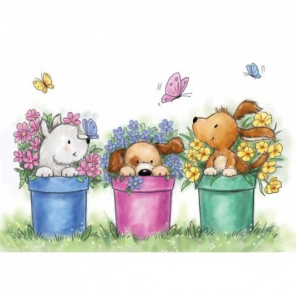 Set of clear stamps - Wild Rose Studio - Dogs in Pots CL515